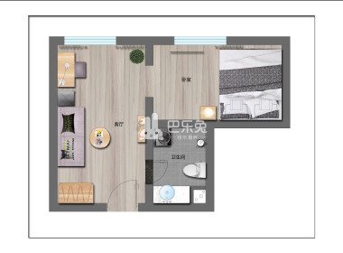 冠寓(人民公园店) 1室1厅1卫