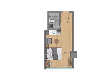 冠寓(大卫城店) 1室0厅1卫